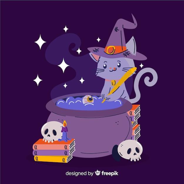 Mão desenhada gato de bruxa de halloween Vetor grátis