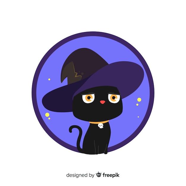 Mão desenhada gato preto de halloween Vetor grátis