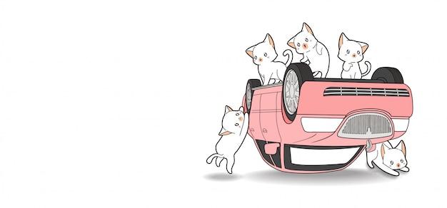 Mão desenhada gatos kawaii e carro rosa está quebrado Vetor Premium