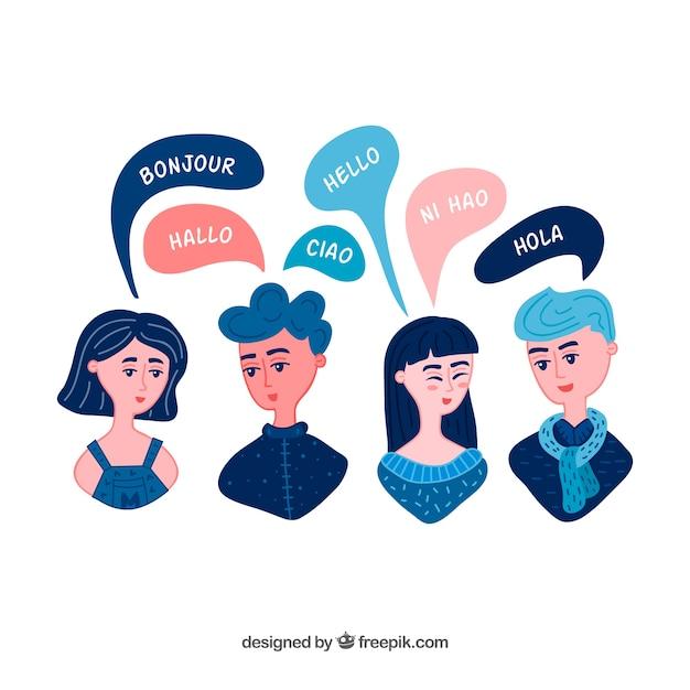 Mão desenhada grupo de pessoas falando línguas diferentes Vetor grátis