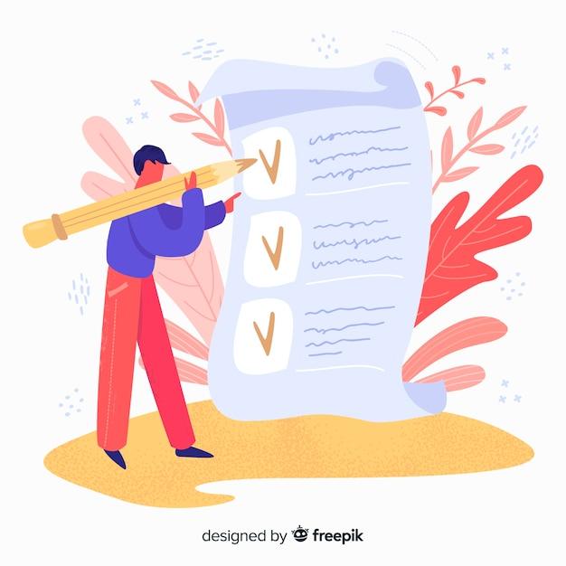 Mão desenhada homem verificando a ilustração de lista de verificação gigante Vetor grátis