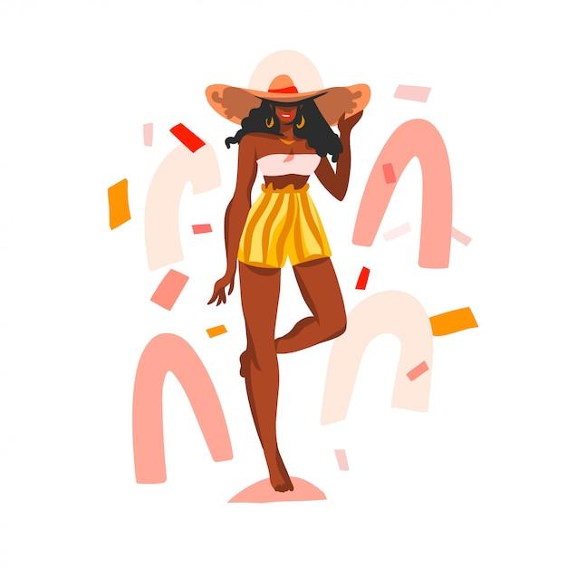 Mão desenhada ilustração com preto jovem feliz, beleza feminina em traje de banho e praia chapéu sobre fundo de forma branca colagem Vetor Premium