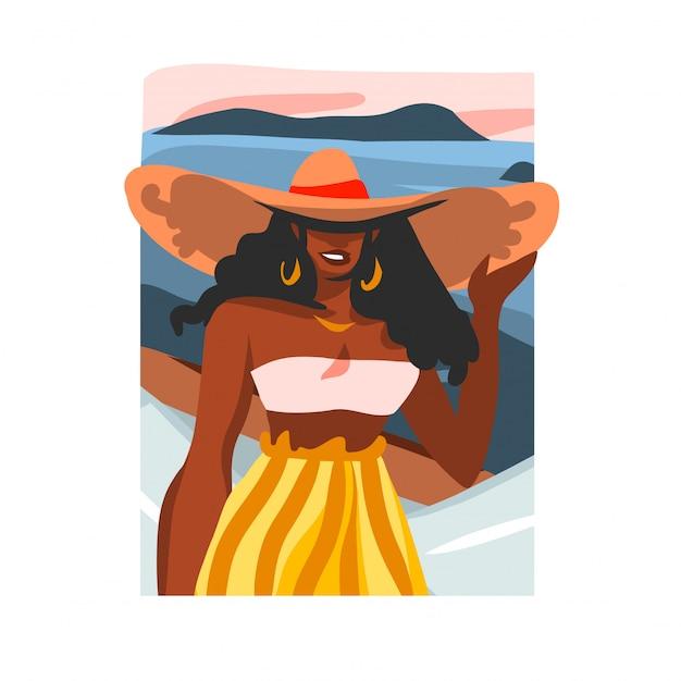 Mão desenhada ilustração com retrato feminino jovem feliz preto beleza afro, em trajes de banho e chapéu na cena da praia em fundo branco Vetor Premium