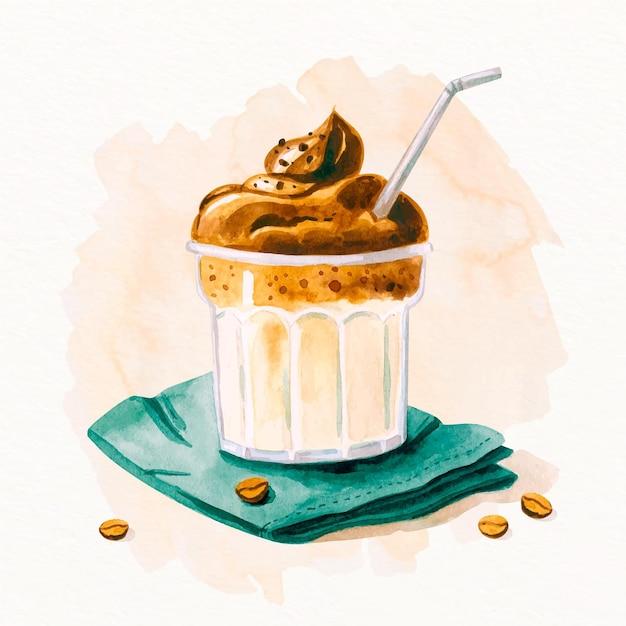 Mão desenhada ilustração de café dalgona Vetor grátis