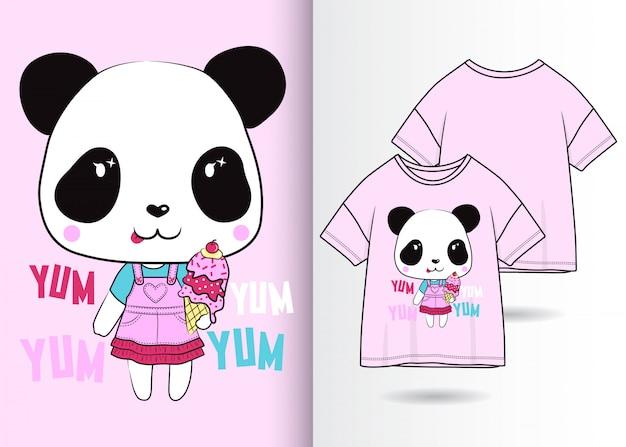 Mão desenhada ilustração de creme panda bonito com design de camisa de t Vetor Premium