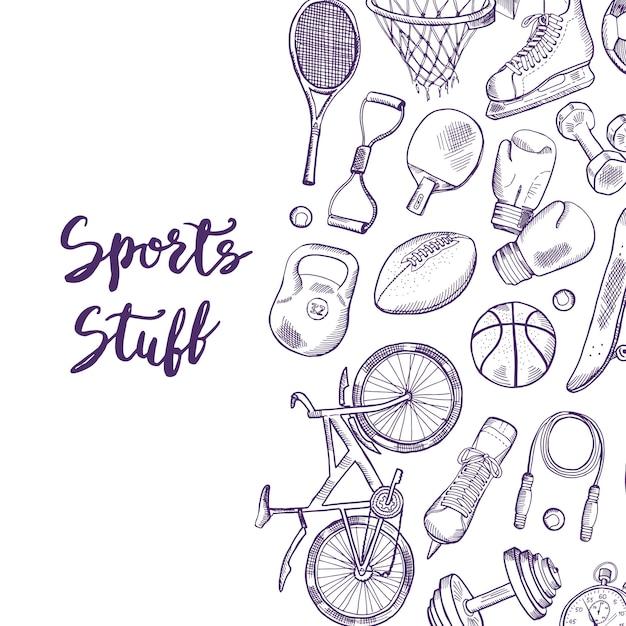 Mão desenhada ilustração de fundo de equipamento desportivo contorneado com lugar para texto Vetor Premium