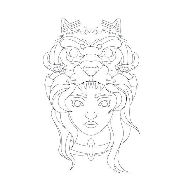 Mão desenhada ilustração de lobo feminino Vetor Premium