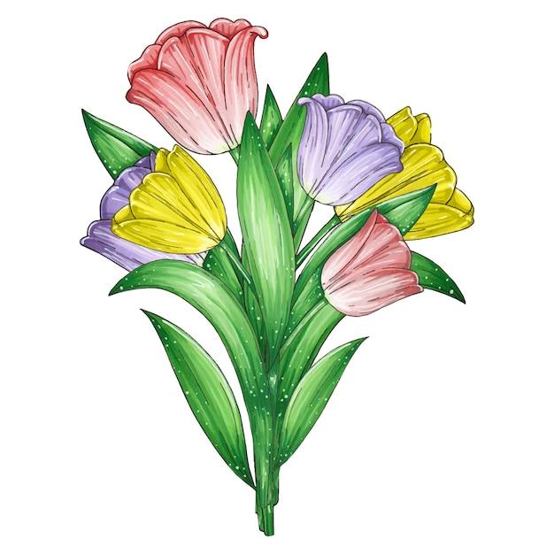 Mão desenhada ilustração de marcador com um lindo buquê de tulipas vermelhas, lilás e amarelas isoladas Vetor Premium