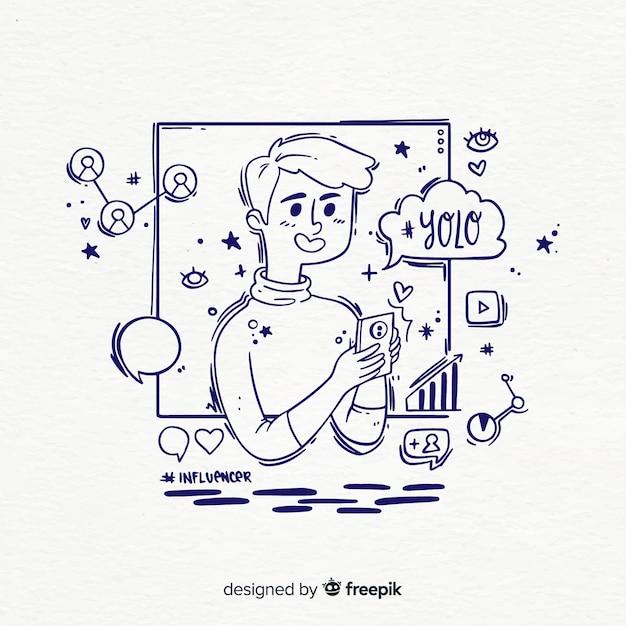 Mão desenhada ilustração de menino influenciador Vetor grátis