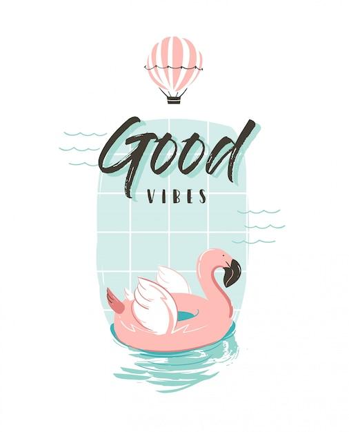 Mão desenhada ilustração divertida de verão abstrato com anel de bóia flamingo rosa em cores pastel e tipografia moderna citação boas vibrações sobre fundo branco Vetor Premium