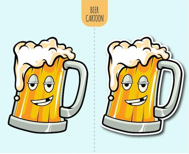 Mão desenhada ilustração dos desenhos animados de cerveja com opção de design de etiqueta Vetor Premium