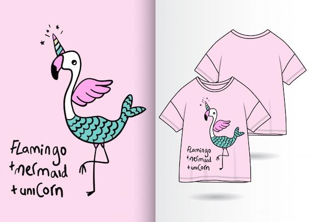 Mão desenhada ilustração flamingo bonito com design de camisa de t Vetor Premium
