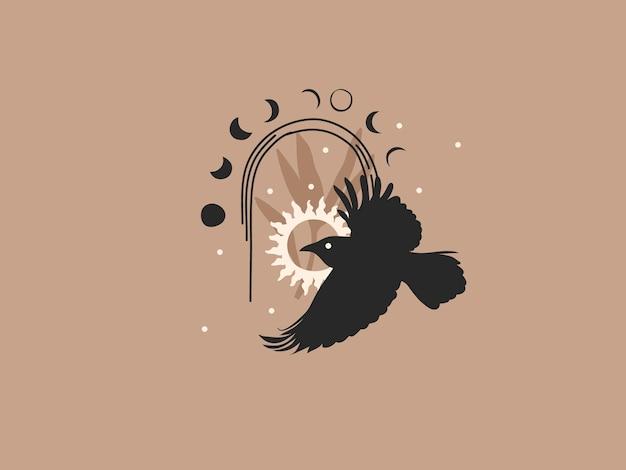 Mão desenhada ilustração gráfica plana abstrata com elementos de logotipo, fases corvo, sol e lua em arco, arte de linha mágica em estilo simples para branding, isolado na cor de fundo. Vetor Premium