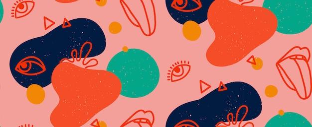 Mão desenhada ilustração moderna com lábios elegantes com língua e olho, várias formas e objetos de doodle. abstrato moderno na moda padrão sem emenda. retro, pin-up Vetor Premium