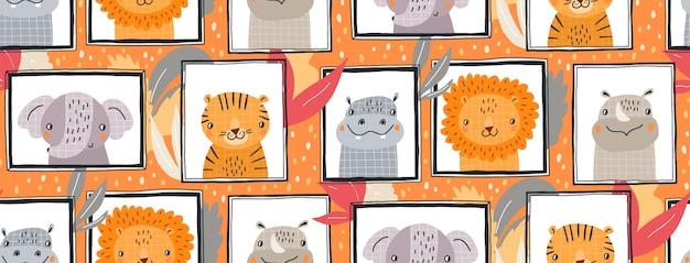 Mão desenhada ilustração padrão sem emenda de animais fofos em quadros. design plano de estilo escandinavo para crianças. Vetor Premium