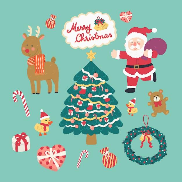 Mão desenhada ilustração vetorial bonitinho elementos de natal, papai noel, rena, árvore de natal Vetor Premium
