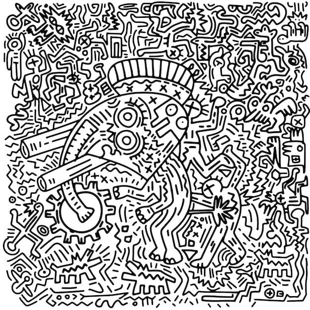 Mão desenhada ilustração vetorial de doodle elefante engraçado e humano, ferramentas de linha de ilustrador de desenho Vetor Premium