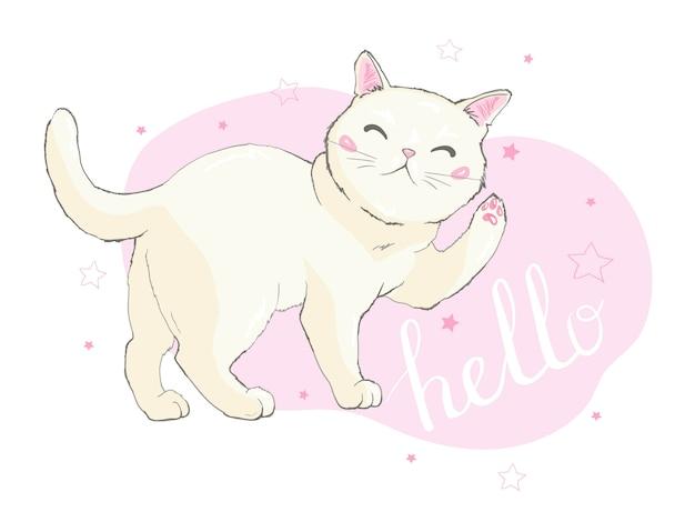 Mão desenhada ilustração vetorial de um gato de unicórnio engraçado kawaii Vetor Premium