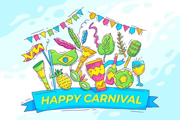 Mão desenhada ilustrado elementos do carnaval brasileiro Vetor grátis