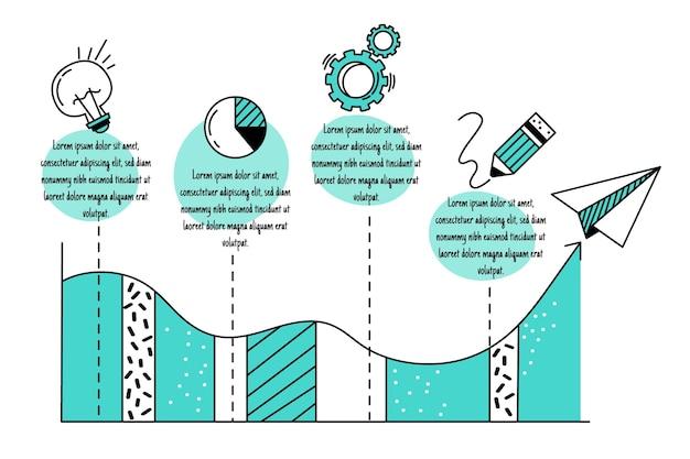 Mão desenhada infográficos de negócios Vetor grátis