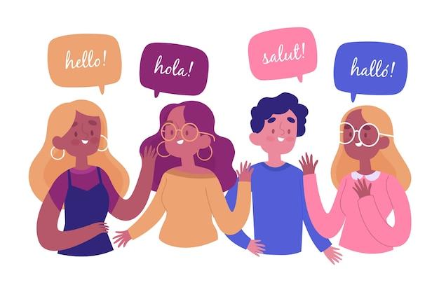 Mão desenhada jovens falando na coleção de diferentes idiomas Vetor grátis