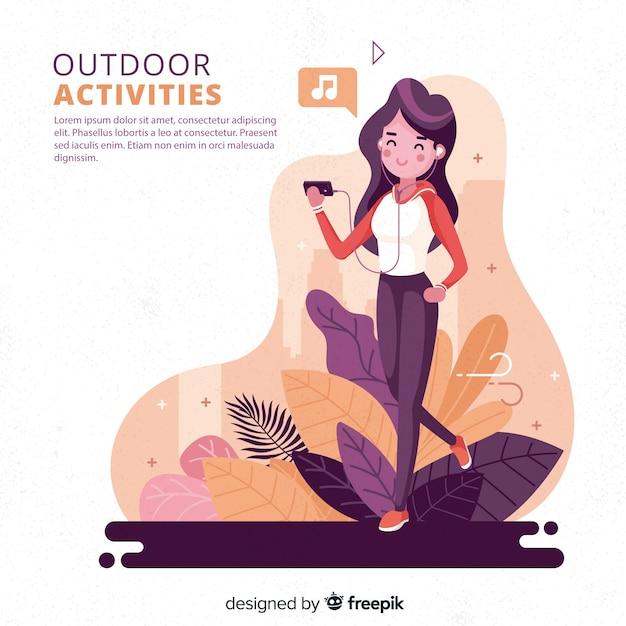 Mão desenhada jovens fazendo atividades ao ar livre fundo Vetor grátis