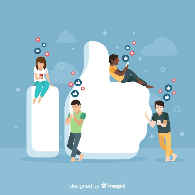 Mão desenhada jovens mídias sociais como fundo do conceito Vetor grátis