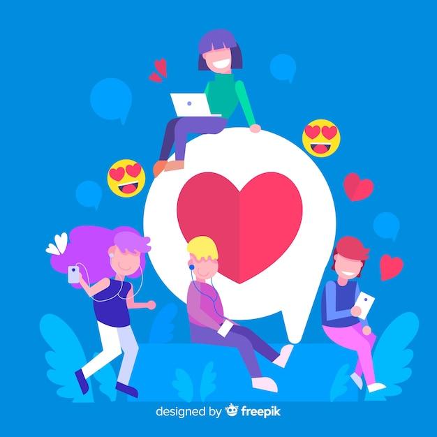 Mão desenhada jovens mídias sociais coração conceito fundo Vetor grátis