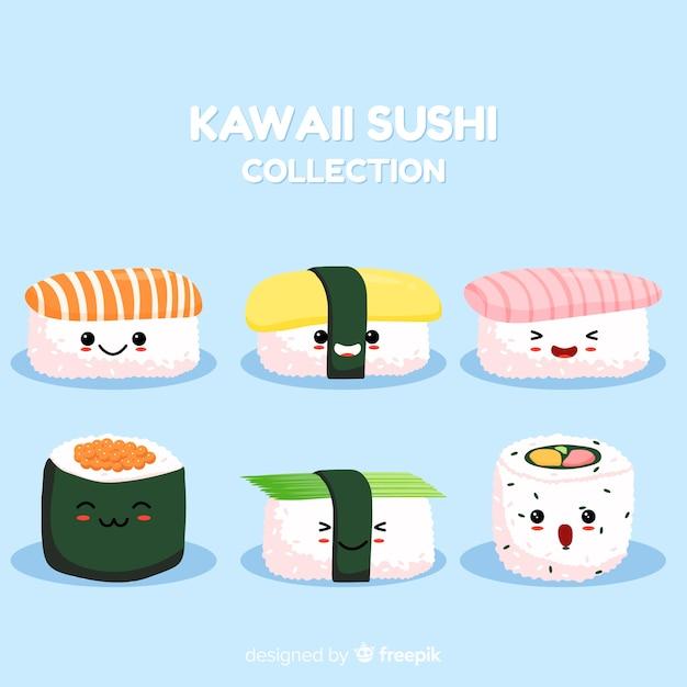 Mão desenhada kawaii sorridente coleção de sushi Vetor grátis