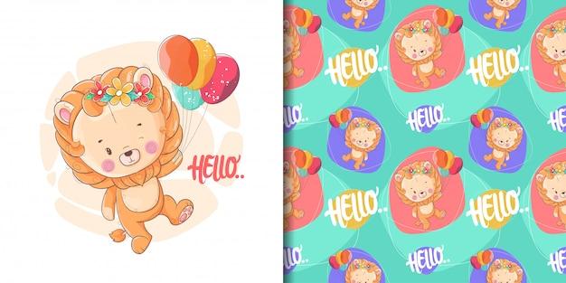 Mão desenhada leão bebê fofo com balões e padrão Vetor Premium