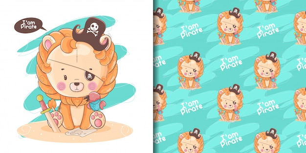 Mão desenhada leão bebê fofo com pirata personalizado e padrão Vetor Premium