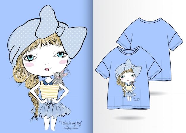 Mão desenhada linda garota ilustração com design de camisa de t Vetor Premium