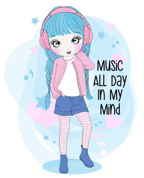 Mão desenhada linda garota ouvindo música Vetor Premium