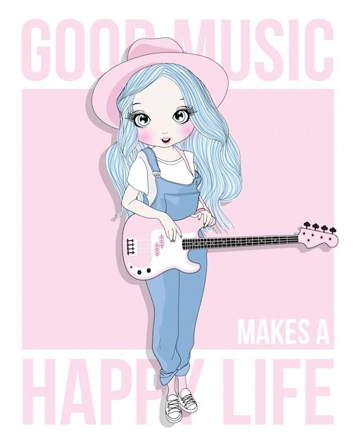 Mão desenhada linda garota tocando violão Vetor Premium