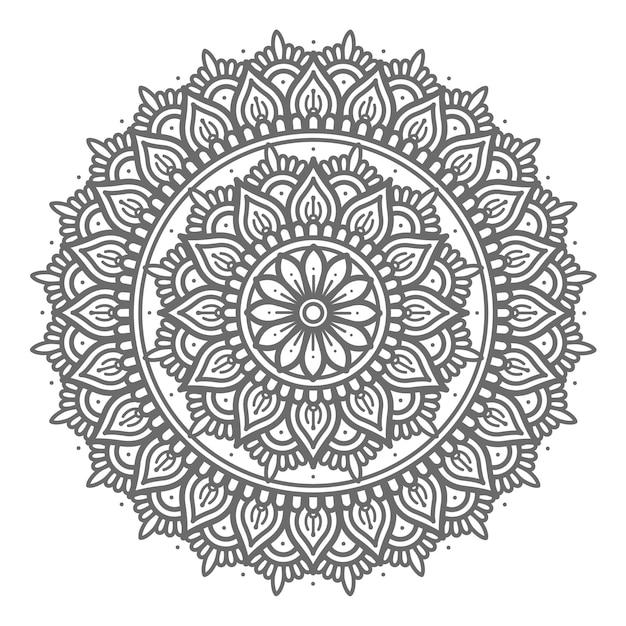 Mão desenhada linha arte com estilo de círculo abstrato e conceito decorativo mandala Vetor Premium