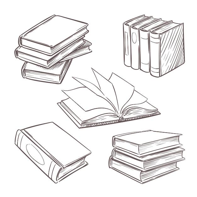 Mão desenhada livros antigos. esboçar pilhas de livro. biblioteca, livraria vector elementos de design retro isolados Vetor Premium