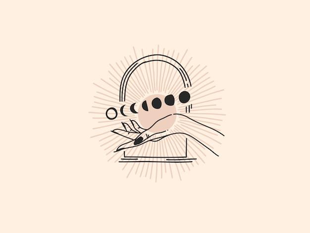 Mão desenhada logotipo, fase da lua e mão feminina em arco, linha de arte em estilo simples. Vetor Premium