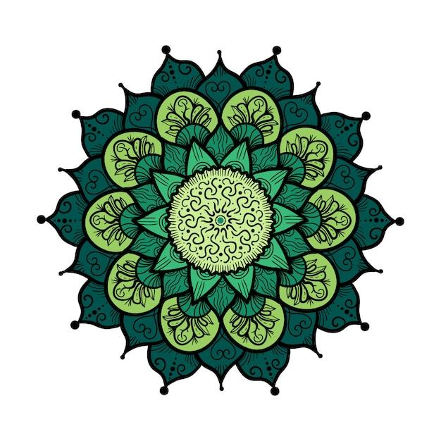 Mão desenhada mandala em estilo de decoração de cultura árabe, indiano, islã e otomano Vetor Premium