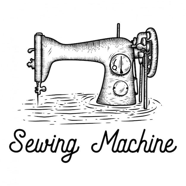 Mão desenhada máquina de costura Vetor Premium