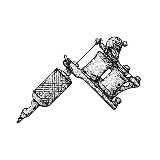 Mão desenhada máquina de tatuagem Vetor Premium