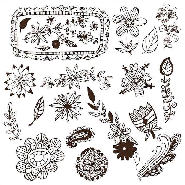 Mão desenhada mehendi flores e quadros vector set Vetor Premium
