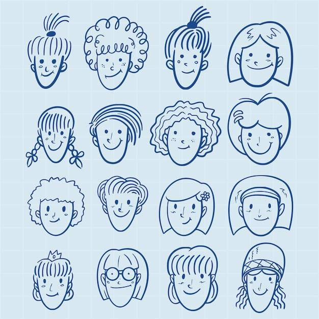 Mão desenhada meninas avatar conjunto no estilo doodle Vetor Premium