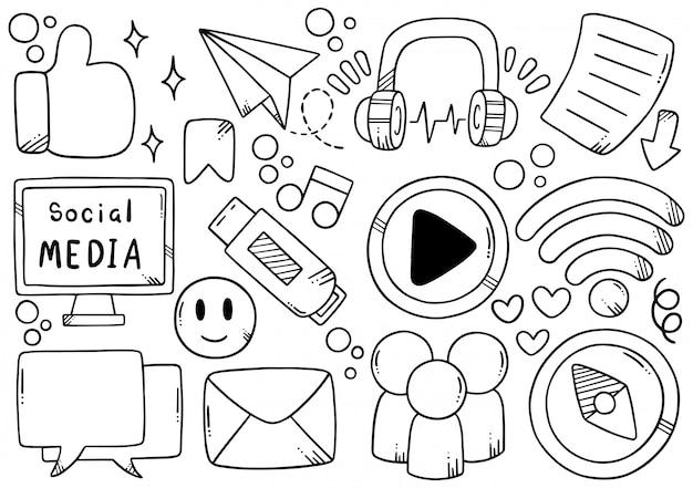 Mão desenhada mídias sociais Vetor Premium