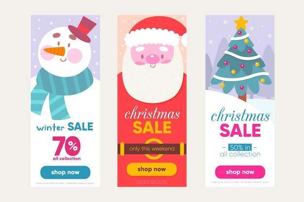Mão desenhada modelo de banners de venda de natal Vetor grátis