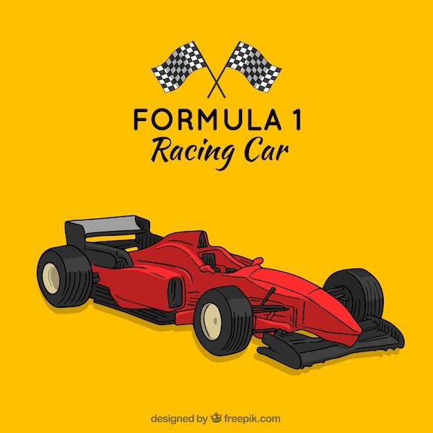 Mão desenhada moderna fórmula 1 carro de corrida Vetor grátis