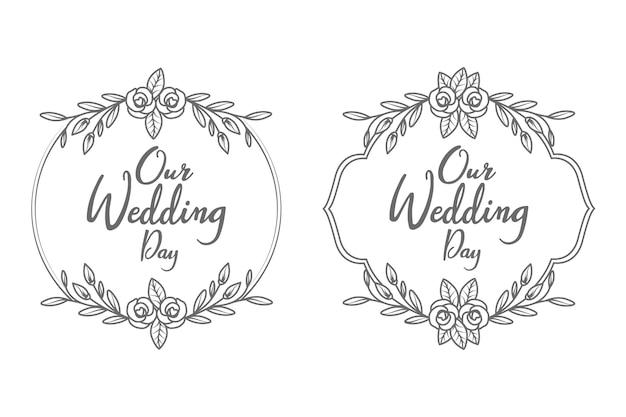 Mão desenhada moldura e monograma de emblemas de casamento decorativos e mínimos Vetor Premium