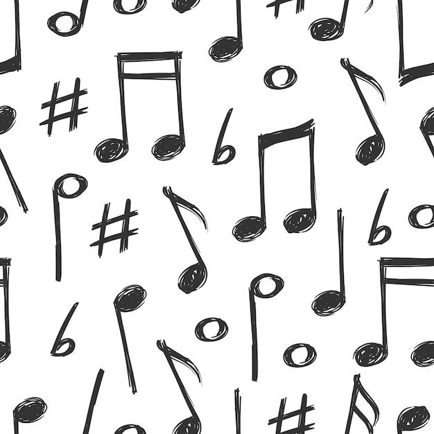 Mão desenhada notas musicais sem costura padrão design Vetor Premium