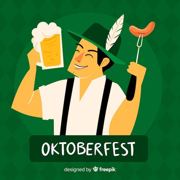 Mão desenhada oktoberfest com homem bávaro feliz Vetor grátis