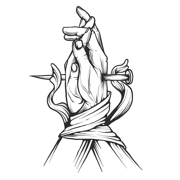 Mão desenhada orando mãos fita ilustração Vetor Premium