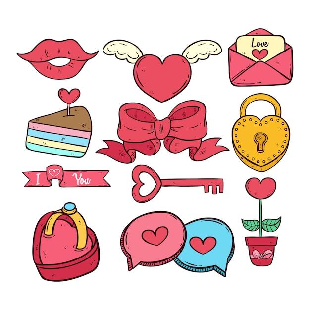 Mão desenhada ou doodle coleção de ícones dos namorados no fundo branco Vetor Premium